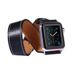 Kožený pásek / řemínek Double Circle pro Apple Watch 38mm černý