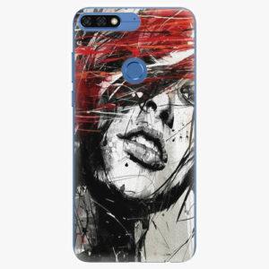 Silikonové pouzdro iSaprio - Sketch Face - Huawei Honor 7C