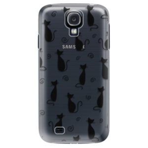 Plastové pouzdro iSaprio - Cat pattern 05 - black - Samsung Galaxy S4