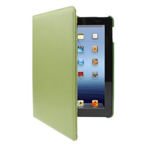 Kožený kryt / pouzdro Rotation Litchi pro iPad 2 / 3 / 4 zelený