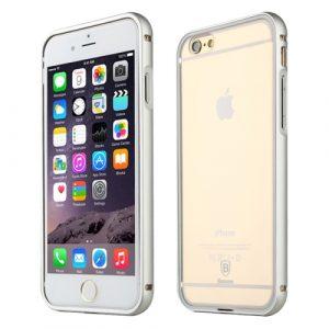 Plastový kryt a kovový rámeček Baseus Crystal Series pro iPhone 6 Plus / 6S Plus stříbrný